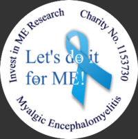 Invest in ME Research round logo with Let's Do It for ME over the blue ribbon in the center